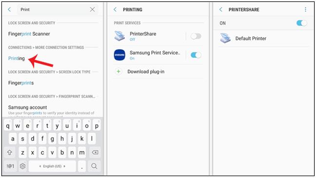 سرچ کلمه printing برای پرینت گرفتن با گوشی موبایل